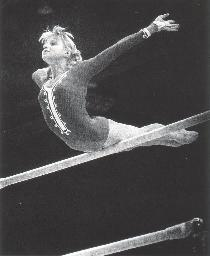Olga Korbut on the uneven bars