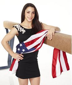 Aly Raisman by beam with flag