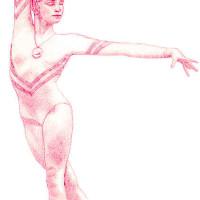 Drawing of Gymnast Ecaterina Szabo by Bobbie Cole