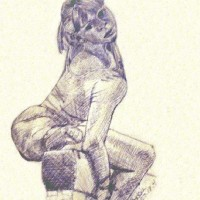 Drawing of gymnast Olesya Dudnik (Olessia Dudnik) by Bobbie Cole